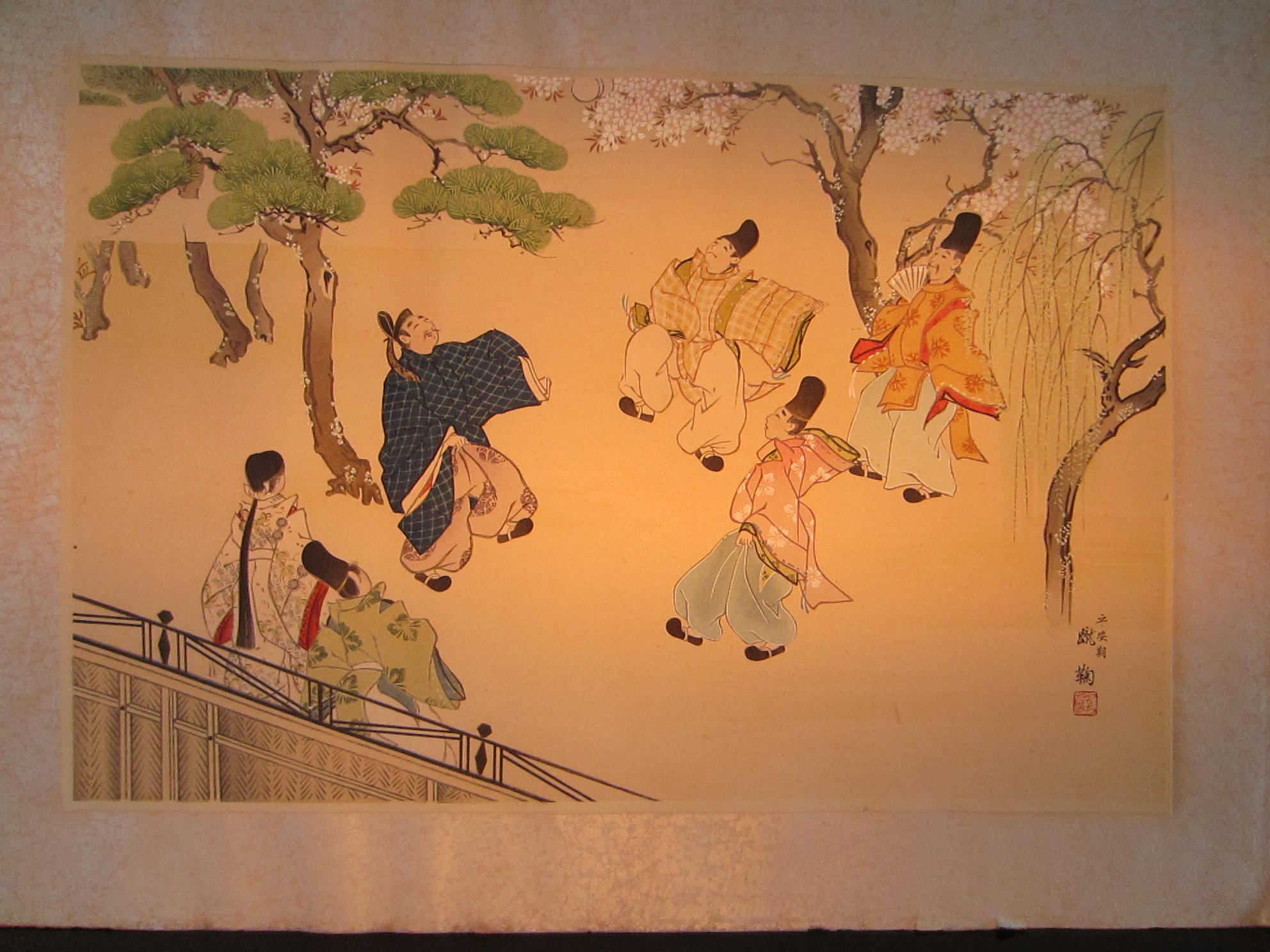 asian painting ball players signed on rice paper for sale