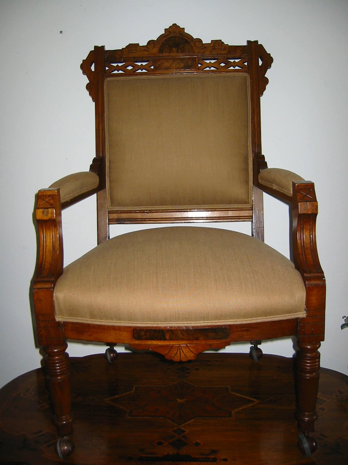 Empire crest antique wood arm chair for sale antiques