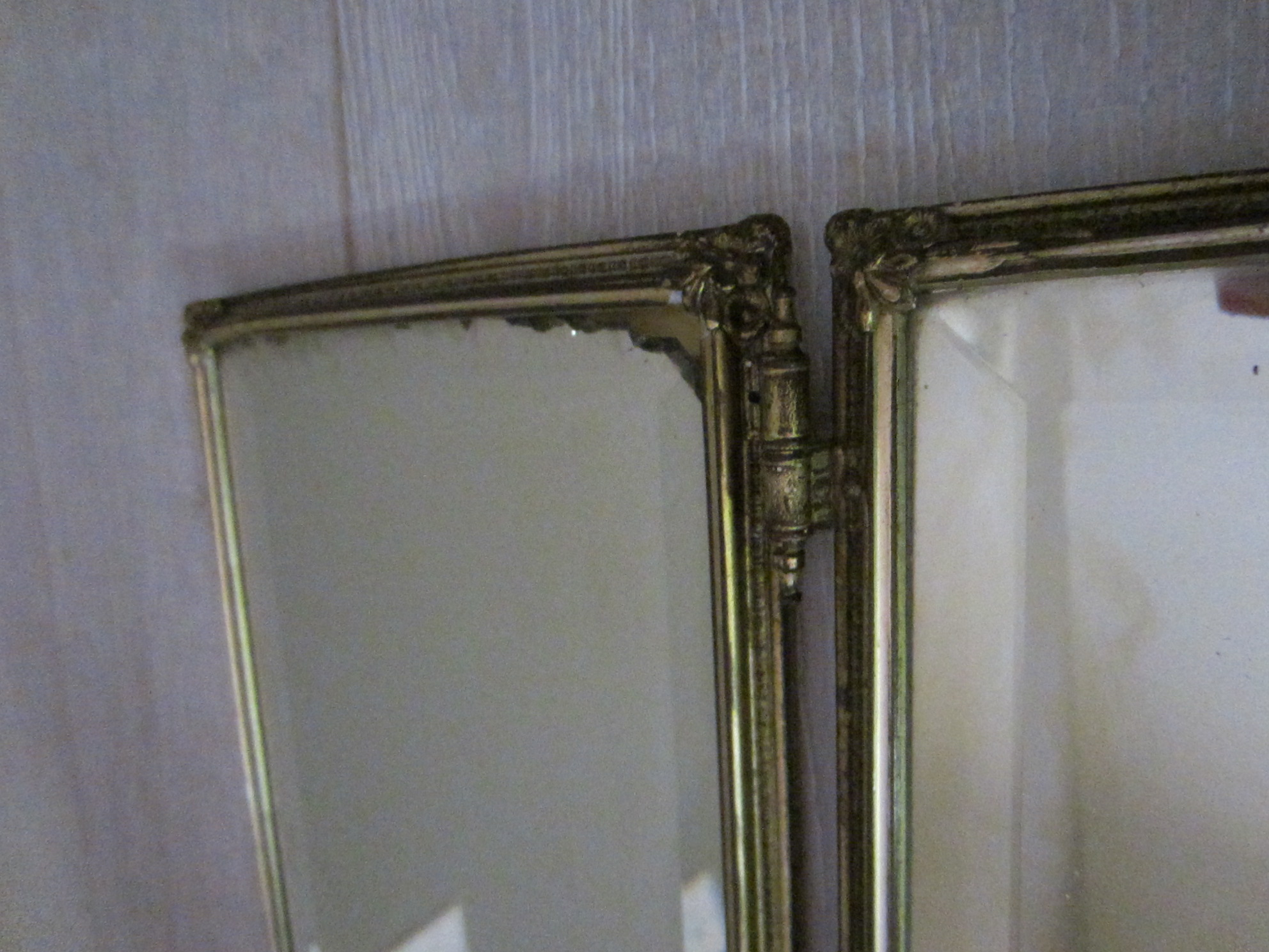 Early 19 century trifold celluloid bronze mirrors hand for Silver mirrors for sale