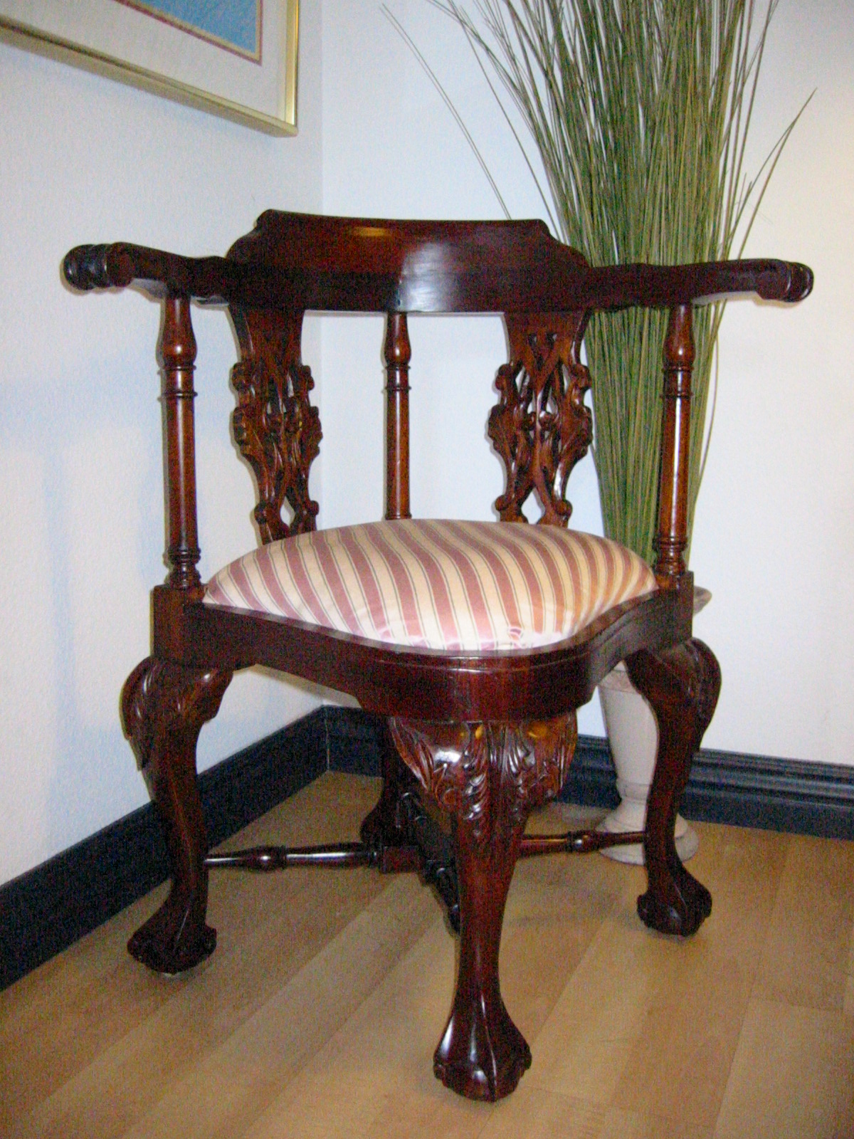 George II Style Mahogany Wood Corner Chair Recently Reupholstered With  Gorgeous Stripe Silk Textile. Vase Shape Splat, Pierced Decoration.