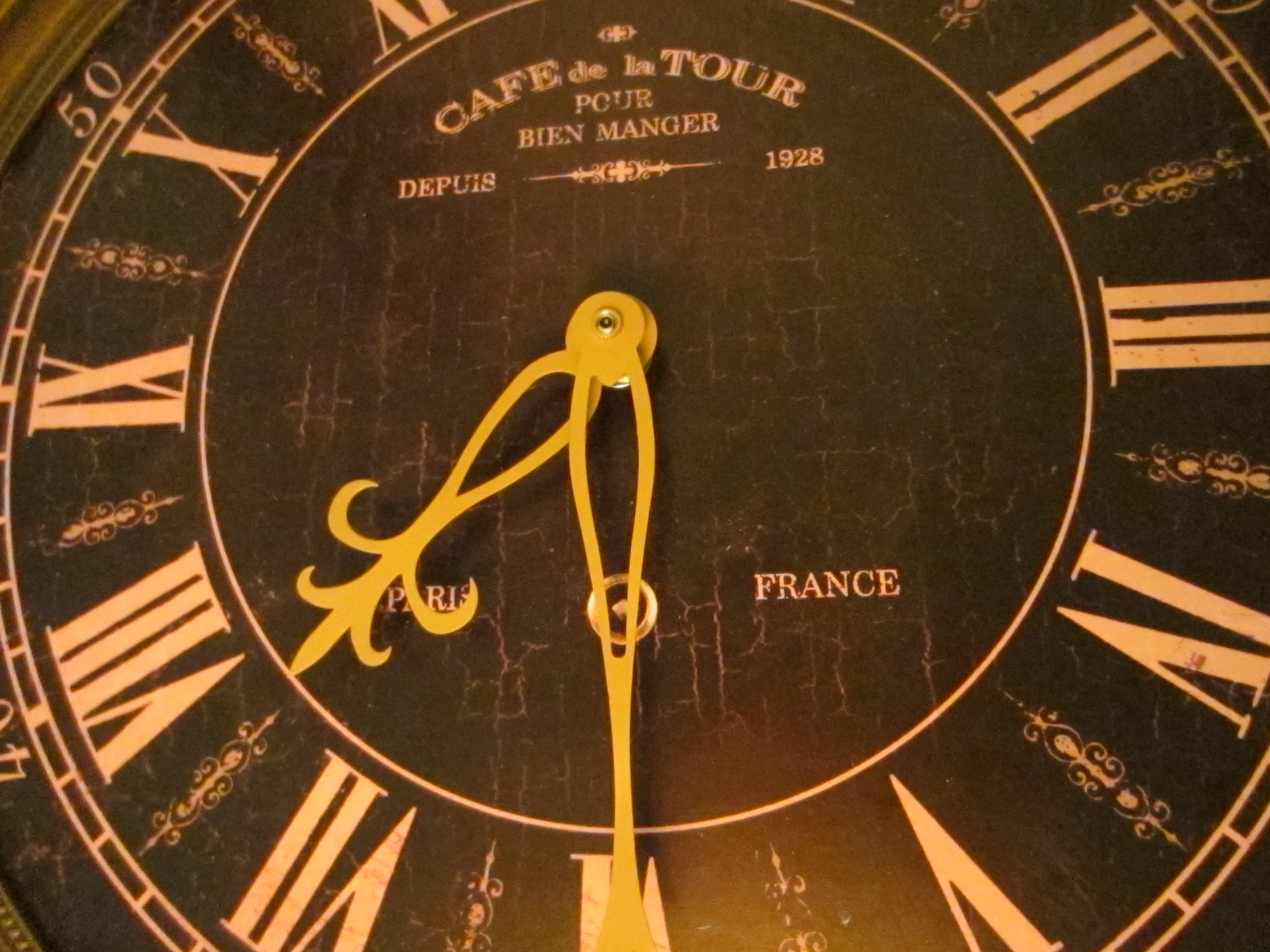 paris france industrial brass wall clock cafe de la tour pour bien manger 1928 style for sale. Black Bedroom Furniture Sets. Home Design Ideas