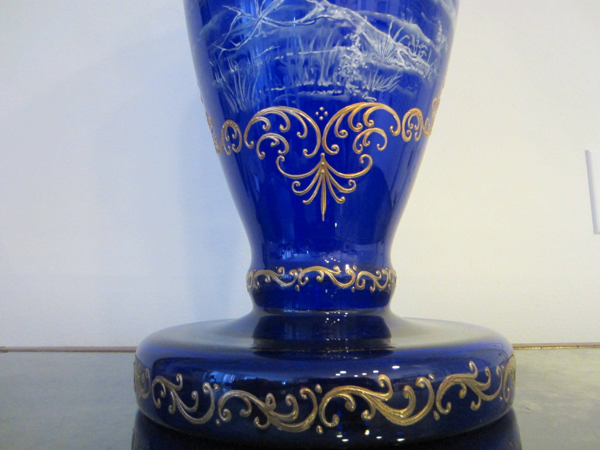 Twentieth century glass vase snow painted cobalt gilt relief twentieth century impressive large 23 h x 10 x 8 cobalt glass vase attributed to germany or france with exquisite snow painted oriental scene floridaeventfo Image collections