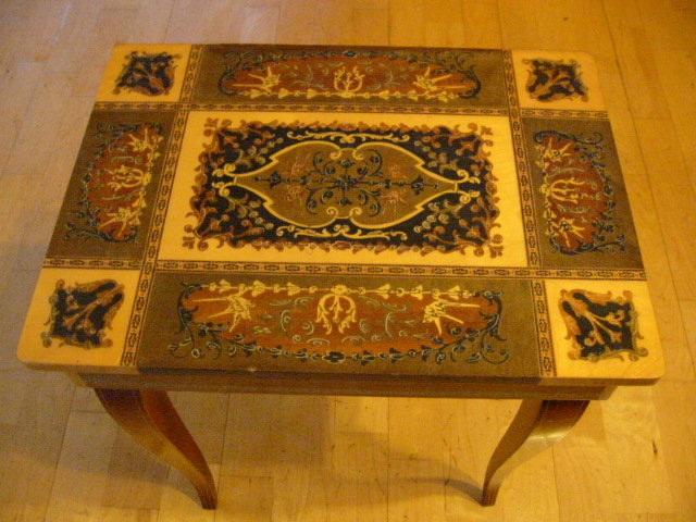 Italian Marquetry Table Reuge Jewelry Music Box For Sale