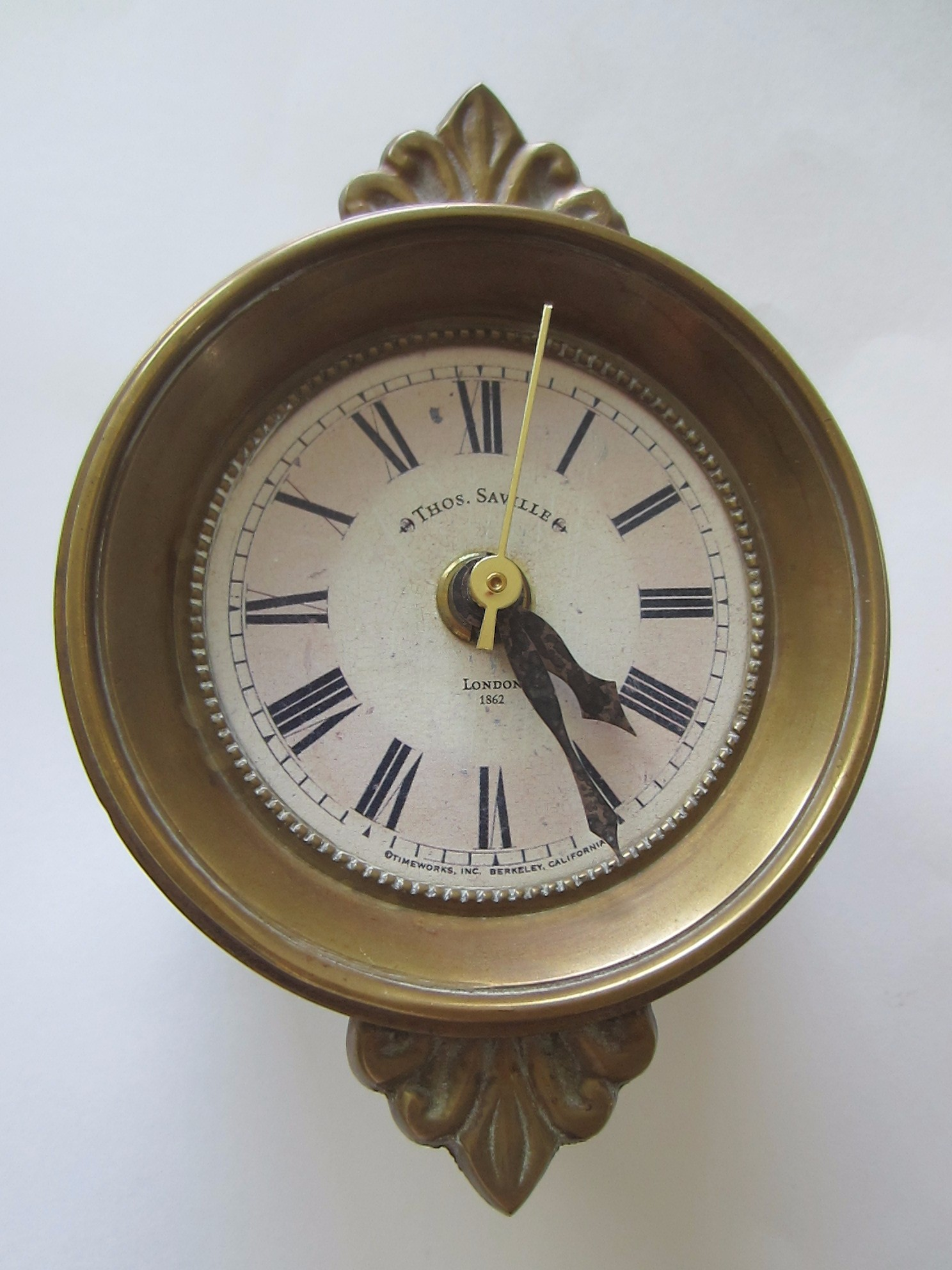 Thos Saville London Timeworks Brass Crested Wall Clock