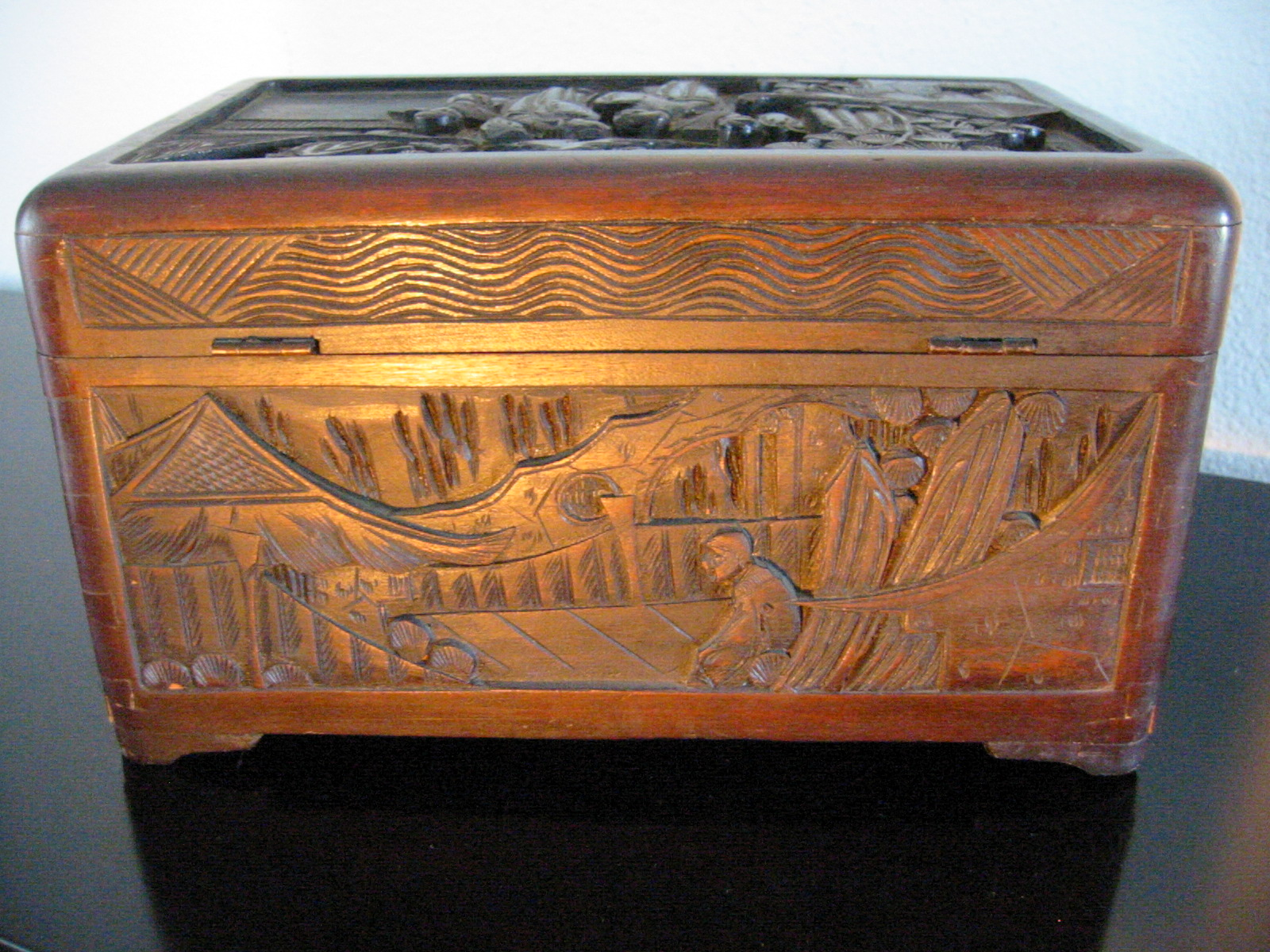 Oriental Hand Carved Storyteller Decorative Asian Letter Box