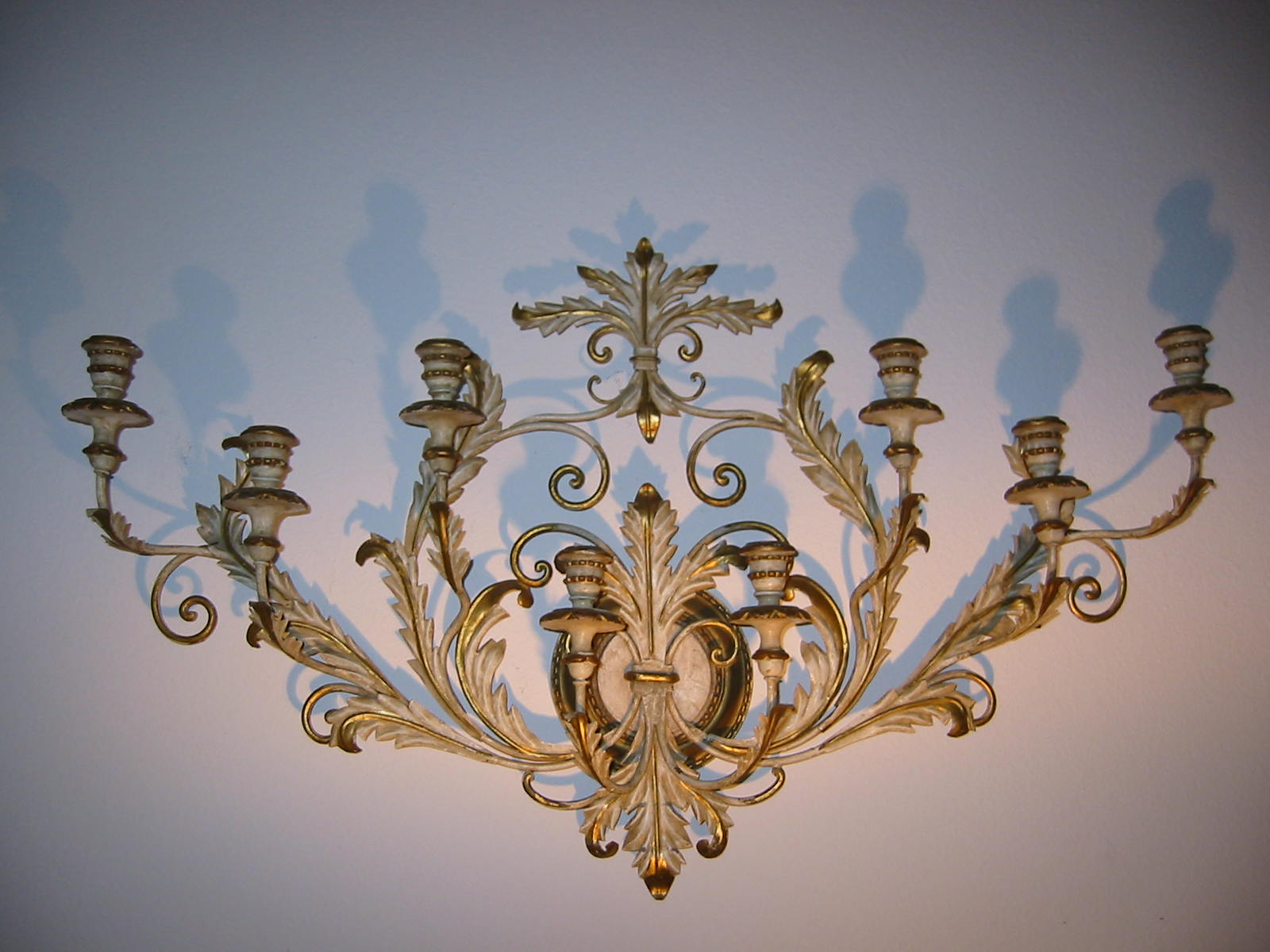 Long Wooden Wall Sconces : Tole Gilt Wood Composition Wall Candle Sconce For Sale Antiques.com Classifieds
