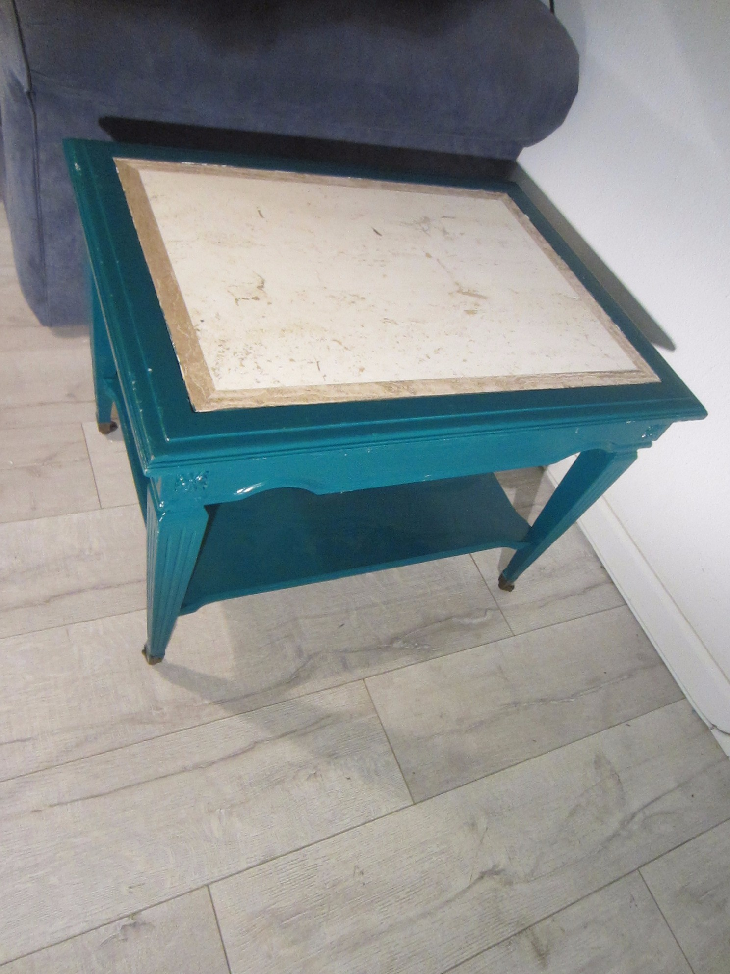 Brandt End Table Blue Painted Wood Italian Marble Art Deco