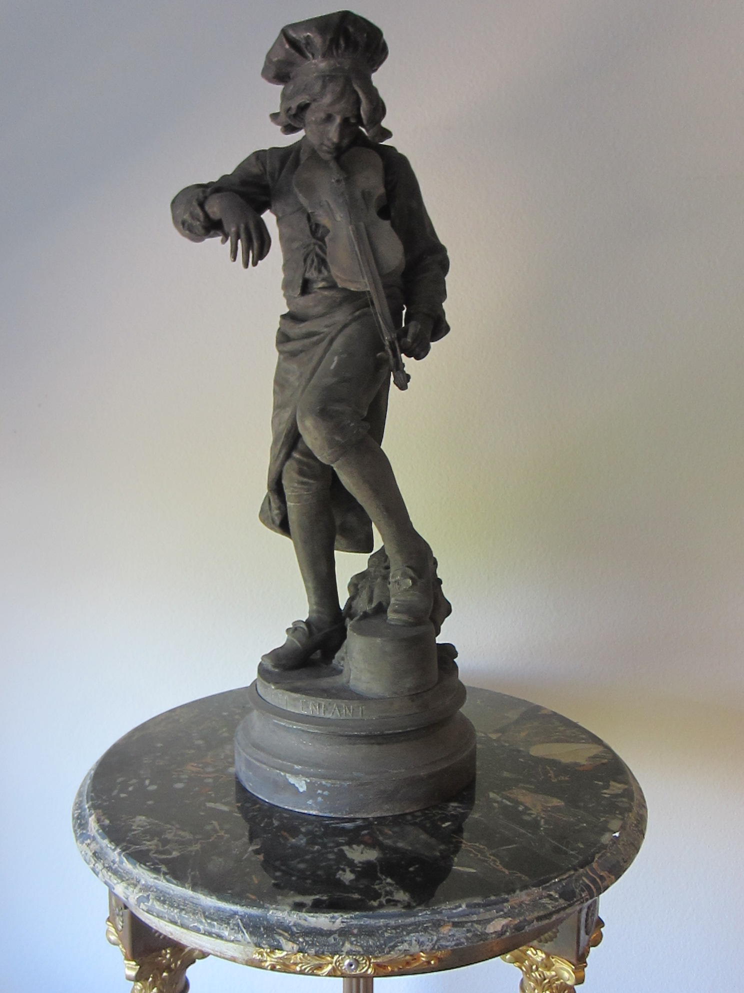 Lulli Enfant French Violin Player Metal Sculpture For Sale
