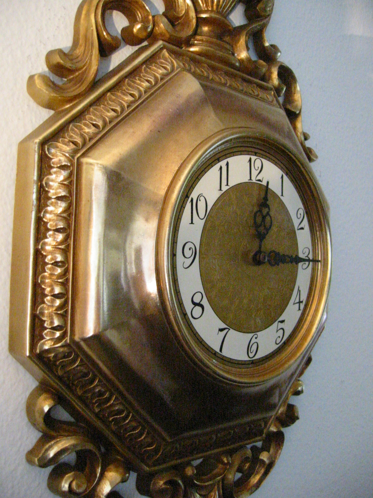 syroco rococo style golden wall clock for sale antiques