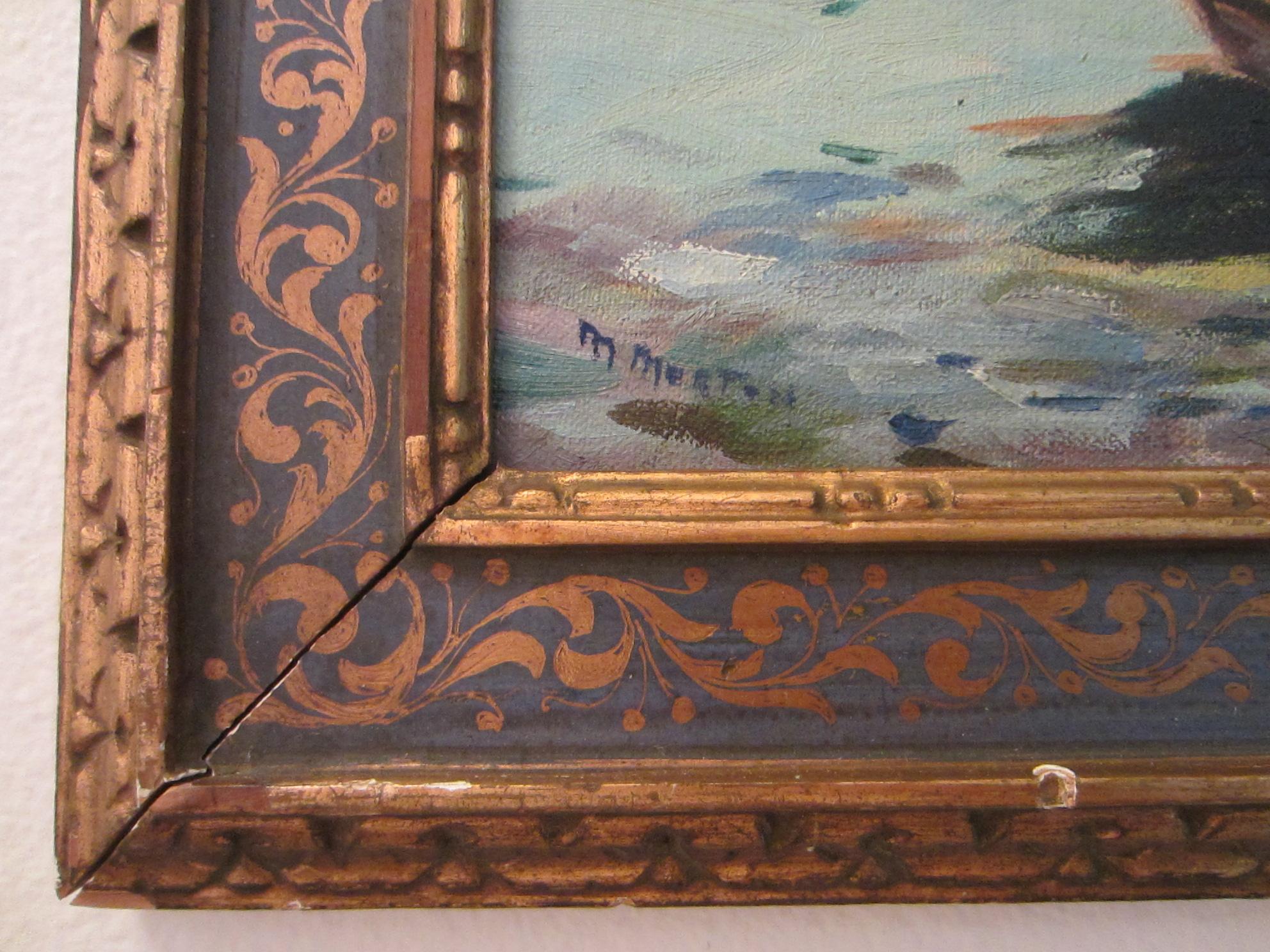 M Morton Seascape Oil On Canvas Board Italian Frame For
