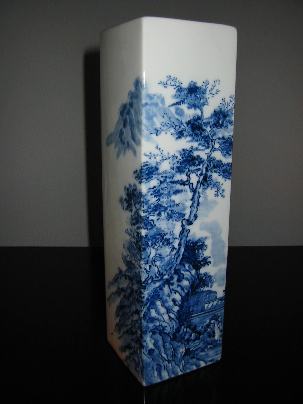 Blue White Scenic Vase Asian Inspire Porcelain Over Glaze