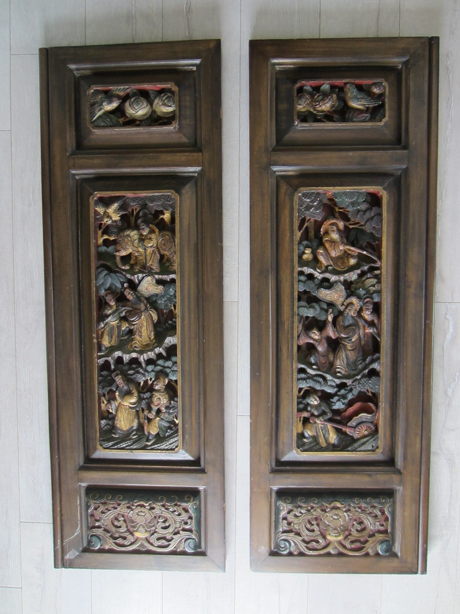 Vintage Wood Paneling: SOLD Chinese Wood Panels Hand Carved Painted Figures Birds