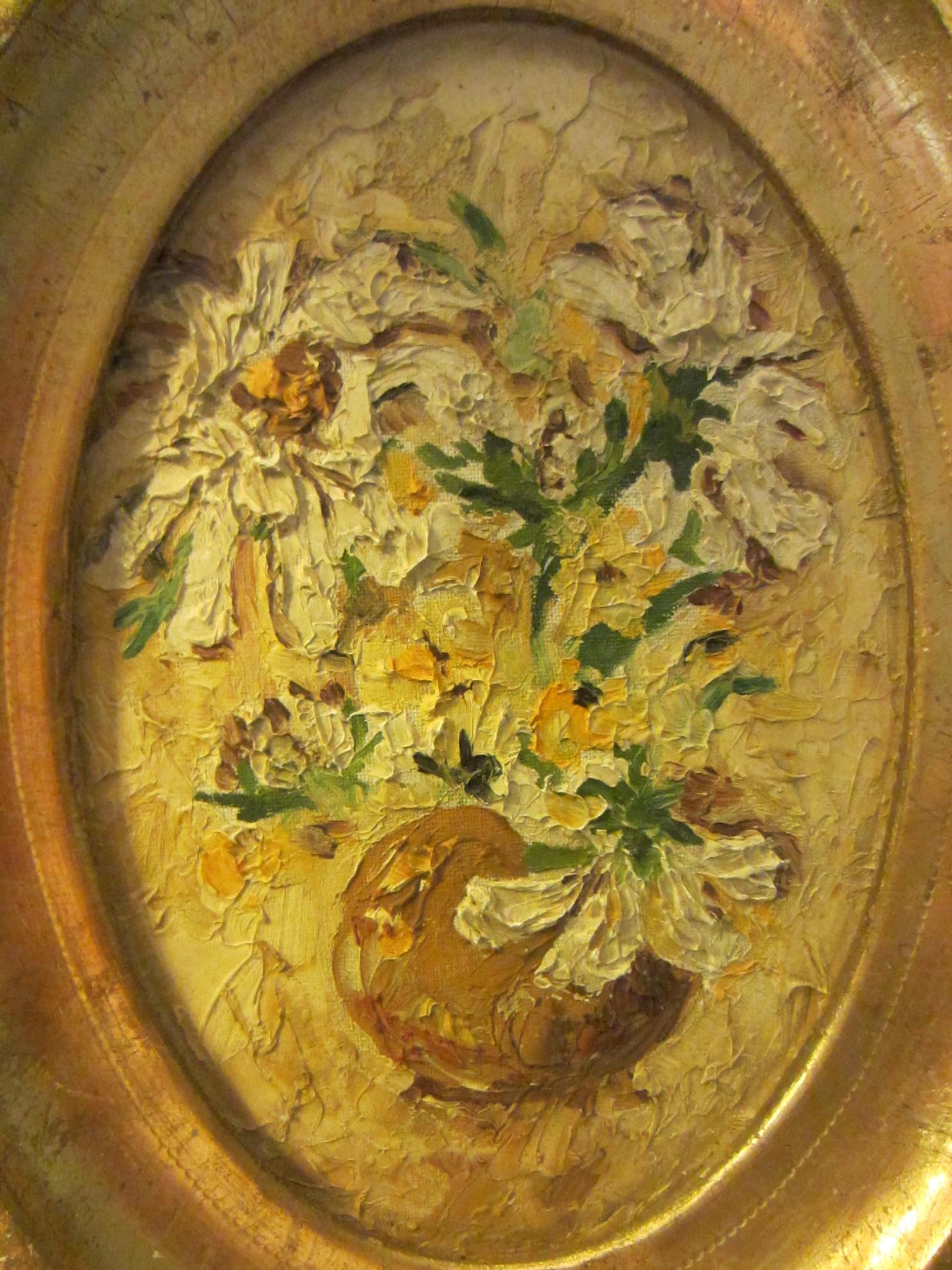 Still Life Flowers Oil On Board Oval Gold Leaf Frame For