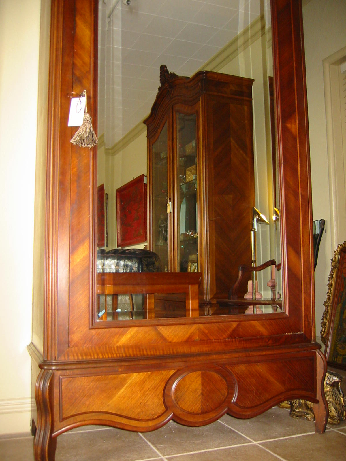French Mahogany Walnut Wood Mirror Armoire For Sale ...