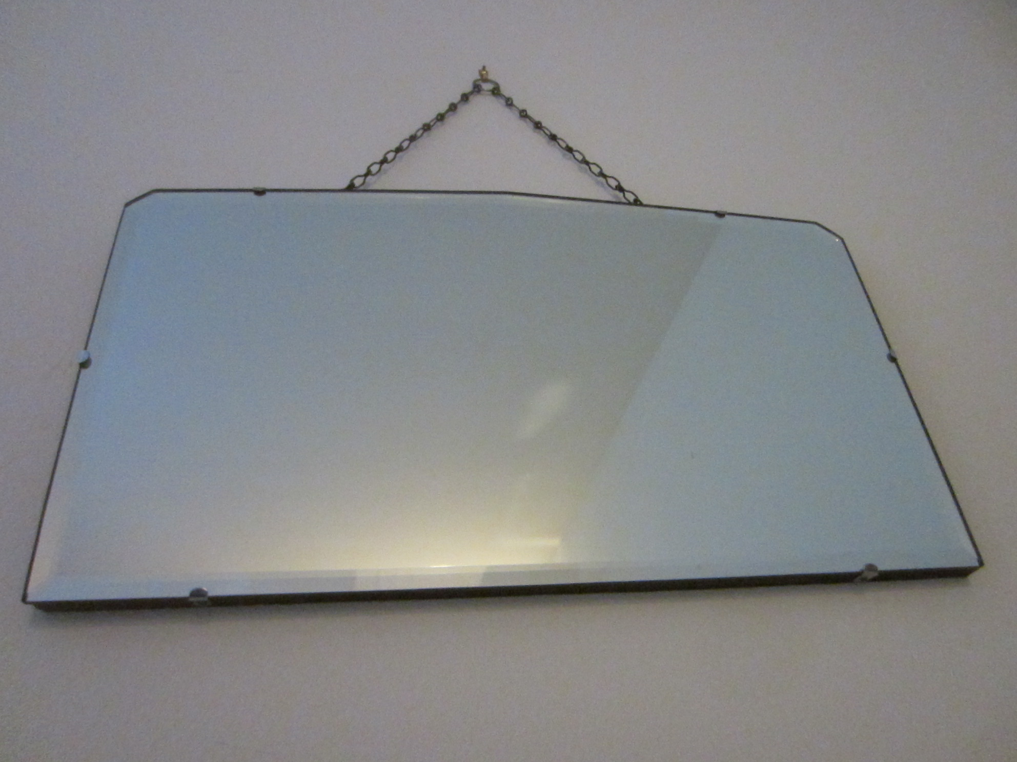 Art Deco Beveled Mirror Original Link Hanging Chain Sold