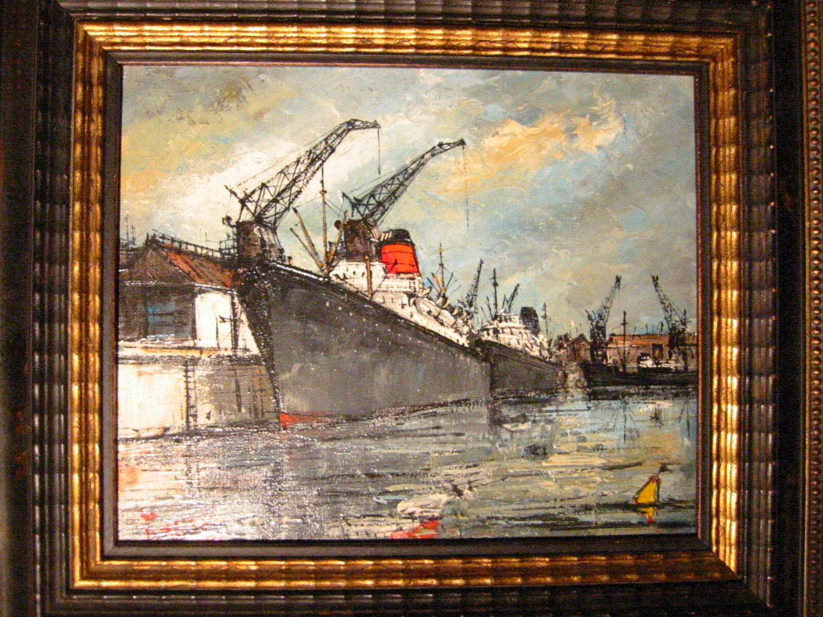 Signed purille port du havre impressionist maritime oil on for Famous prints for sale