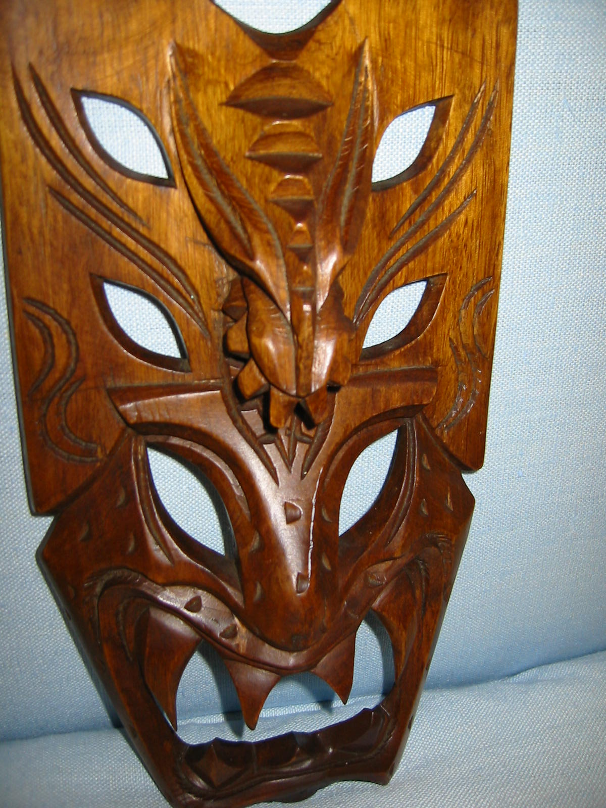 Hawaiian Hand Carving Wood Tribal Mask For Sale Antiques