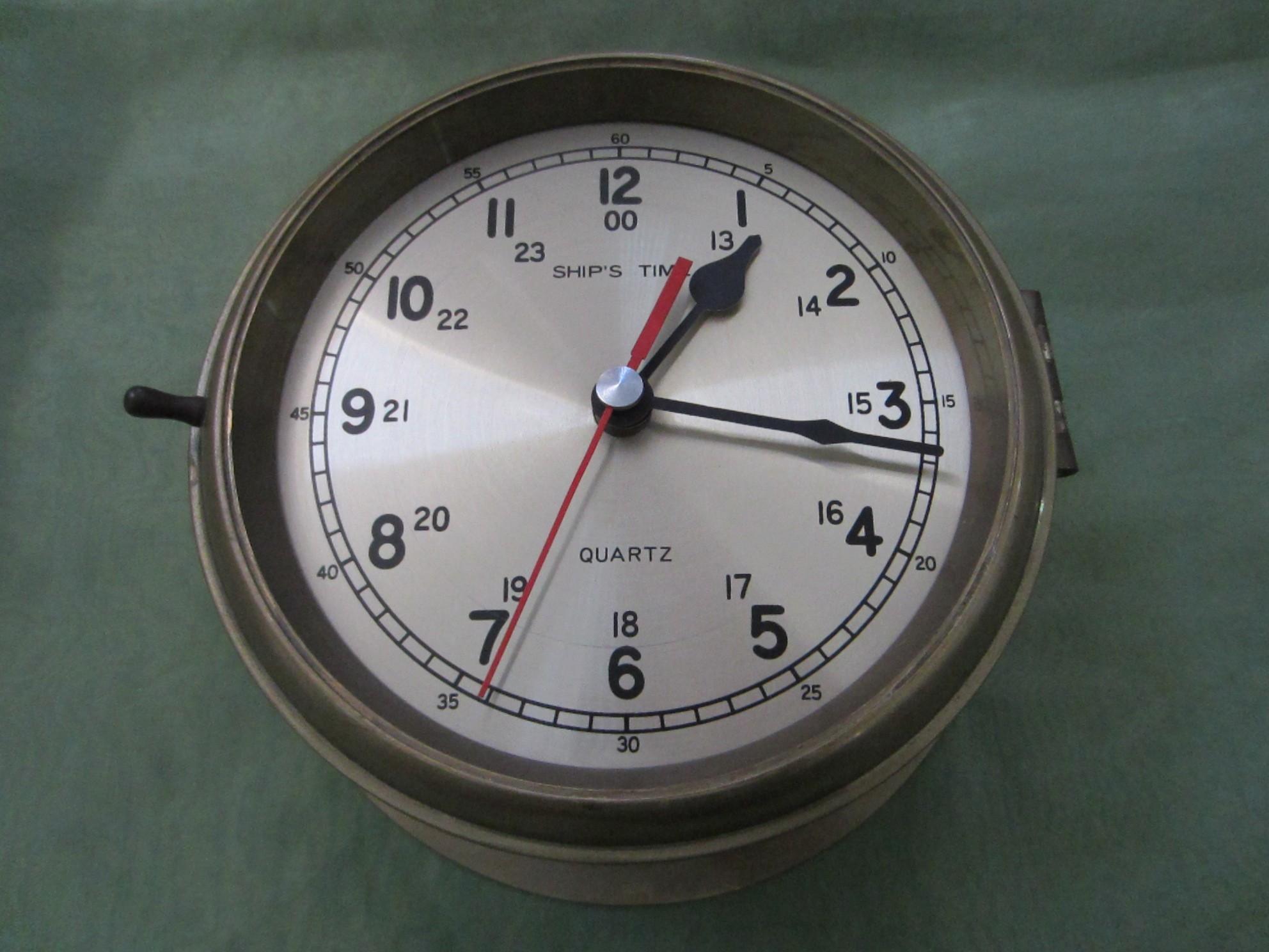 Ships Time Brass Porthole Quartz Nautical Vintage Clock