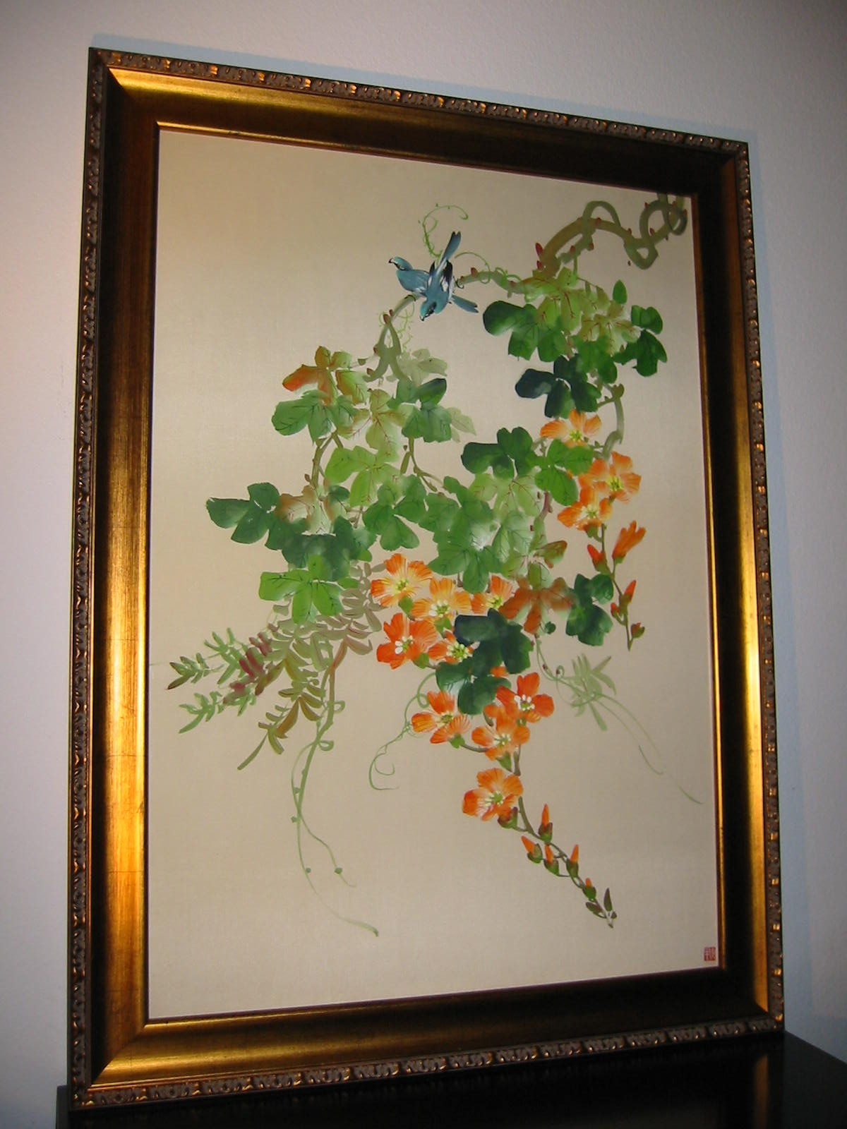 botanical japanese silk painting flowers and bird