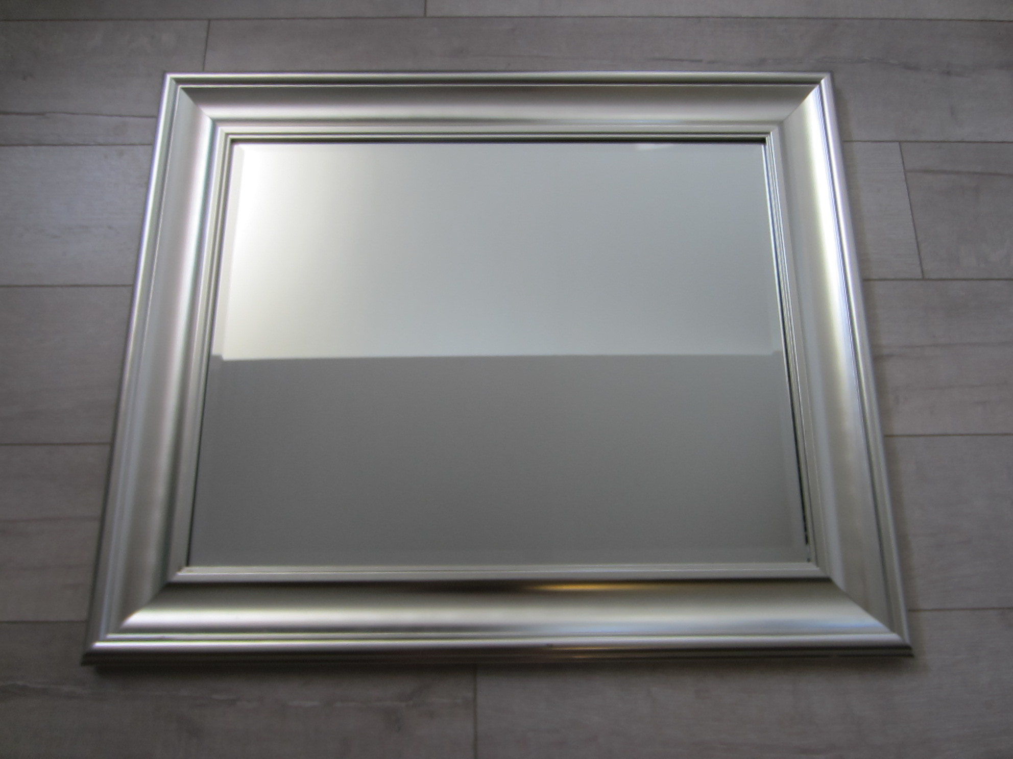 Contemporary Silver Modern Beveled Mirror For Sale