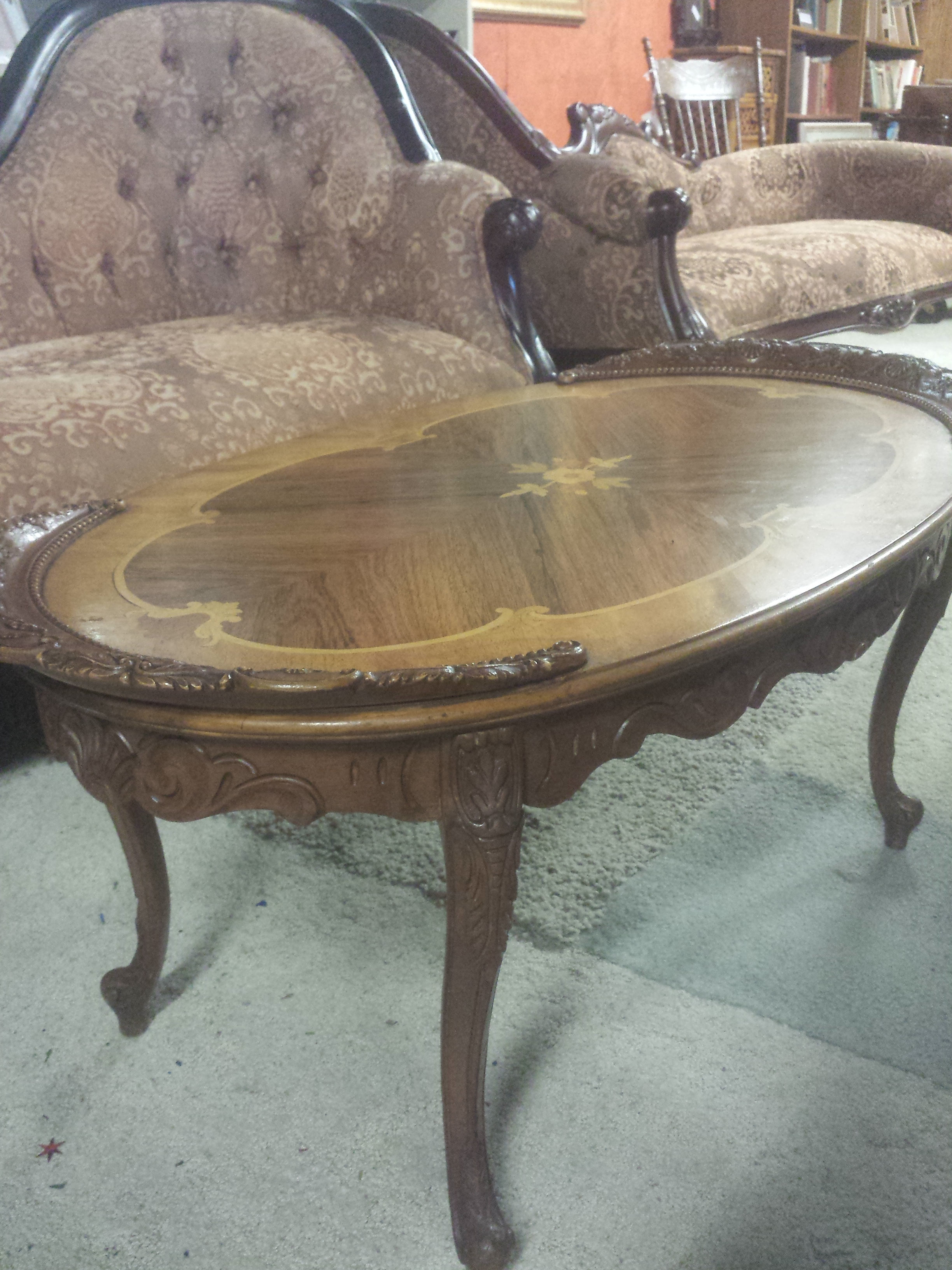 Oval marquetry coffee table for sale for Coffee tables 18 inches wide