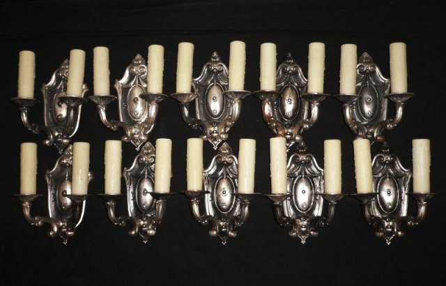 Gorgeous Set of Four Matching Darkened Silver Plate Antique