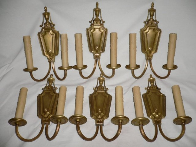Six Matching Large Georgian Style Antique Sconces, c. Early 1900 s -- ONE PAIR AVAILABLE ...