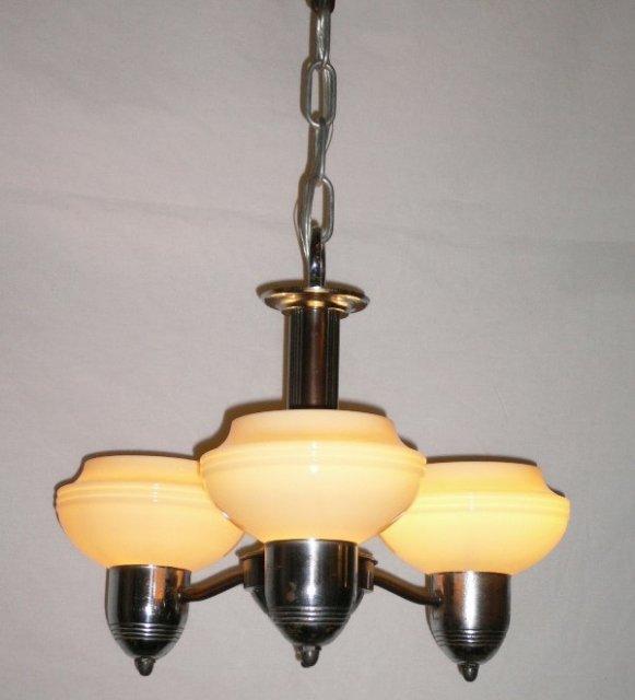 Splendid Antique Art Deco Three Light Chandelier C 1930