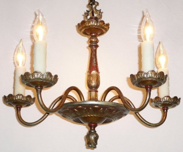 Lovely 1930s Neoclassical Antique Brass Chandelier Nc291