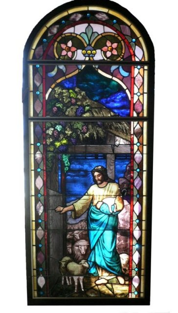 Rare William Reith Antique Figural Stained Glass Window