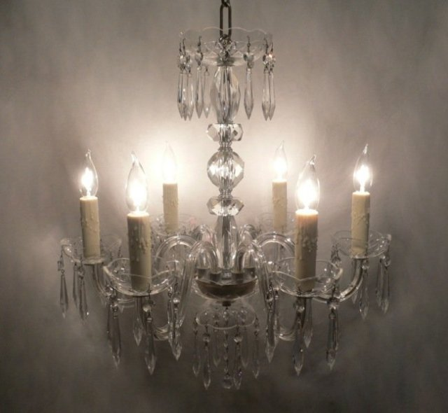 This is a beautiful antique six-light glass chandelier, dating from the  1940 s. The chandelier begins a scalloped glass bowl with sparkling icicle  prisms. - Sparkling Antique Glass Six-Light Chandelier For Sale Antiques