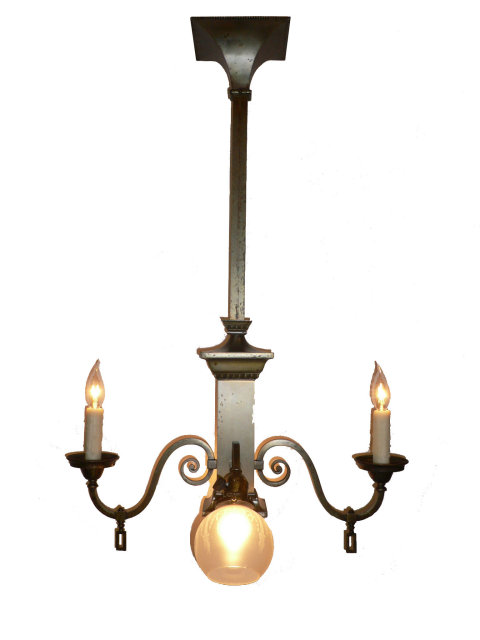 Amazing antique arts and crafts gas electric chandelier for Arts and crafts chandelier