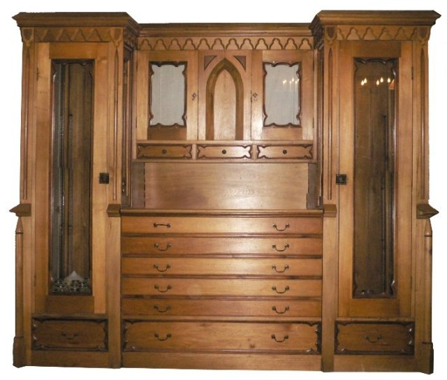 Magnificent Antique Gothic Revival Butternut & Walnut Liturgical Armoire,  c. 1870's NWF2 - For Sale - Magnificent Antique Gothic Revival Butternut & Walnut Liturgical