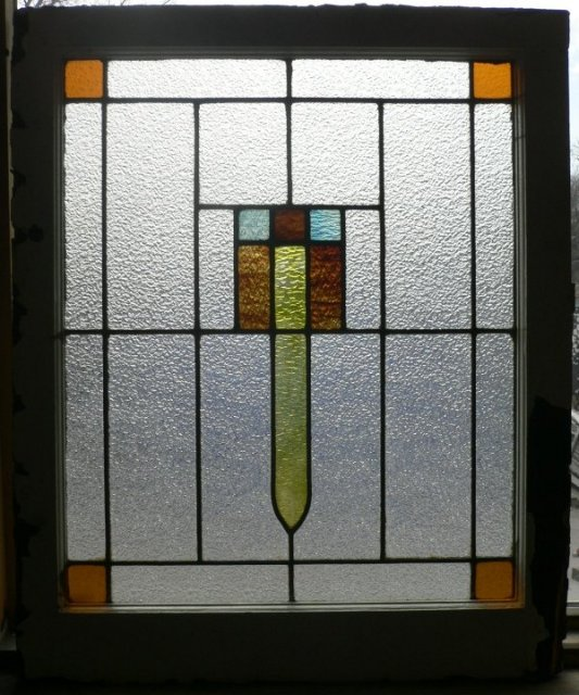 Handsome antique american art deco stained glass window c for Art glass windows and doors