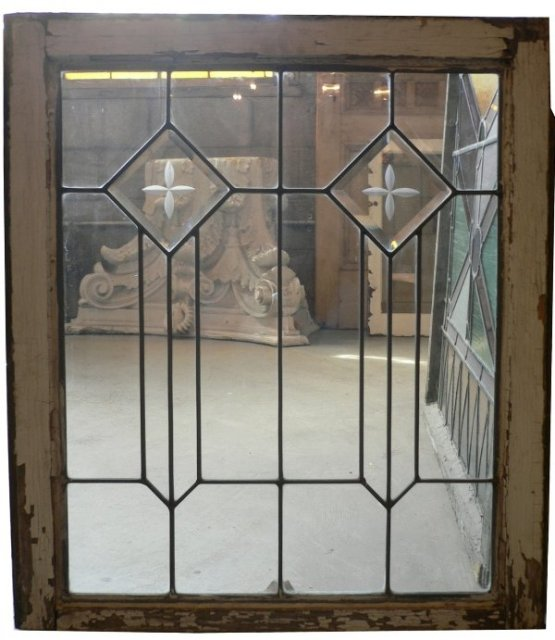 Gorgeous antique american leaded glass window hand cut for Windows for sale