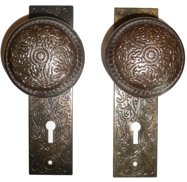 Antique Cast Iron Door Knob Set With Plates U0026 Mortise Lock, Aesthetic  Movement NDKS2   For Sale