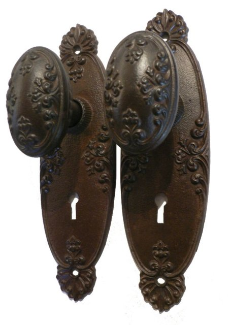 Eleven Antique Neoclassical Door Knob Sets with Plates Mortise