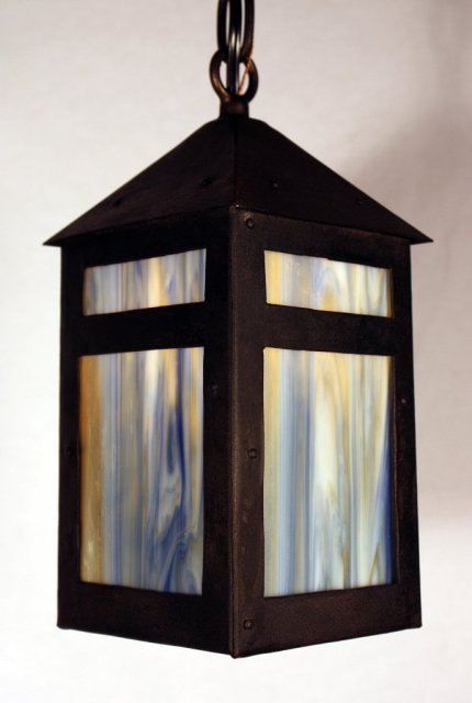 This is a charming antique Arts u0026 Crafts riveted pendant light circa 1910. The lantern features fabulous original blue and gold slag glass on all four ... & Delightful Antique Arts u0026 Crafts Lantern Pendant Light Riveted ...