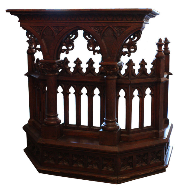 This is a magnificent antique oak Gothic Revival pulpit, dating from the  19th Century. The front of the pulpit features a pair of Ionic columns, ...