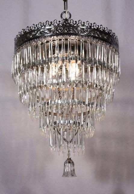 Gorgeous Antique Five Tier Chandelier With Original Prisms