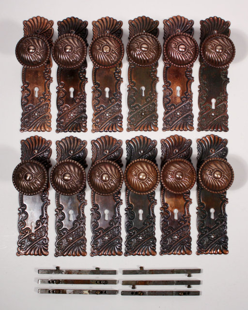These Are Six Fantastic Antique Corbin Roanoke Bronze Art Nouveau Door Knob  Sets, C. 1900, With Their Matching Plates. The Doorknobs Feature A Beaded  Border ...