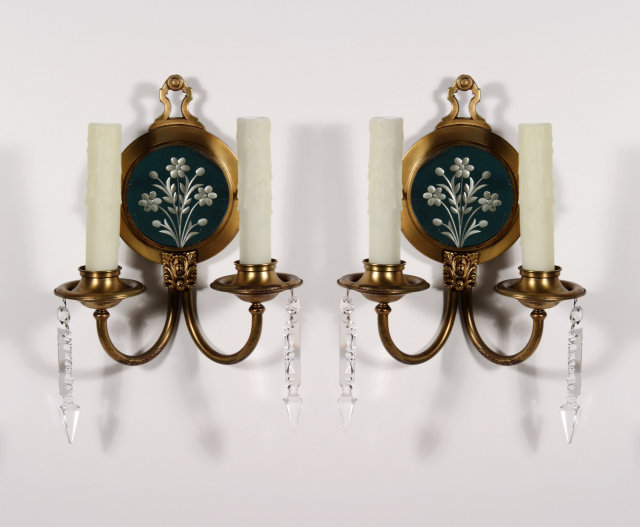 Antique Georgian Wall Sconces : Gorgeous Pair of Antique Georgian Mirrored Sconces, Brass with Crystal For Sale Antiques.com ...