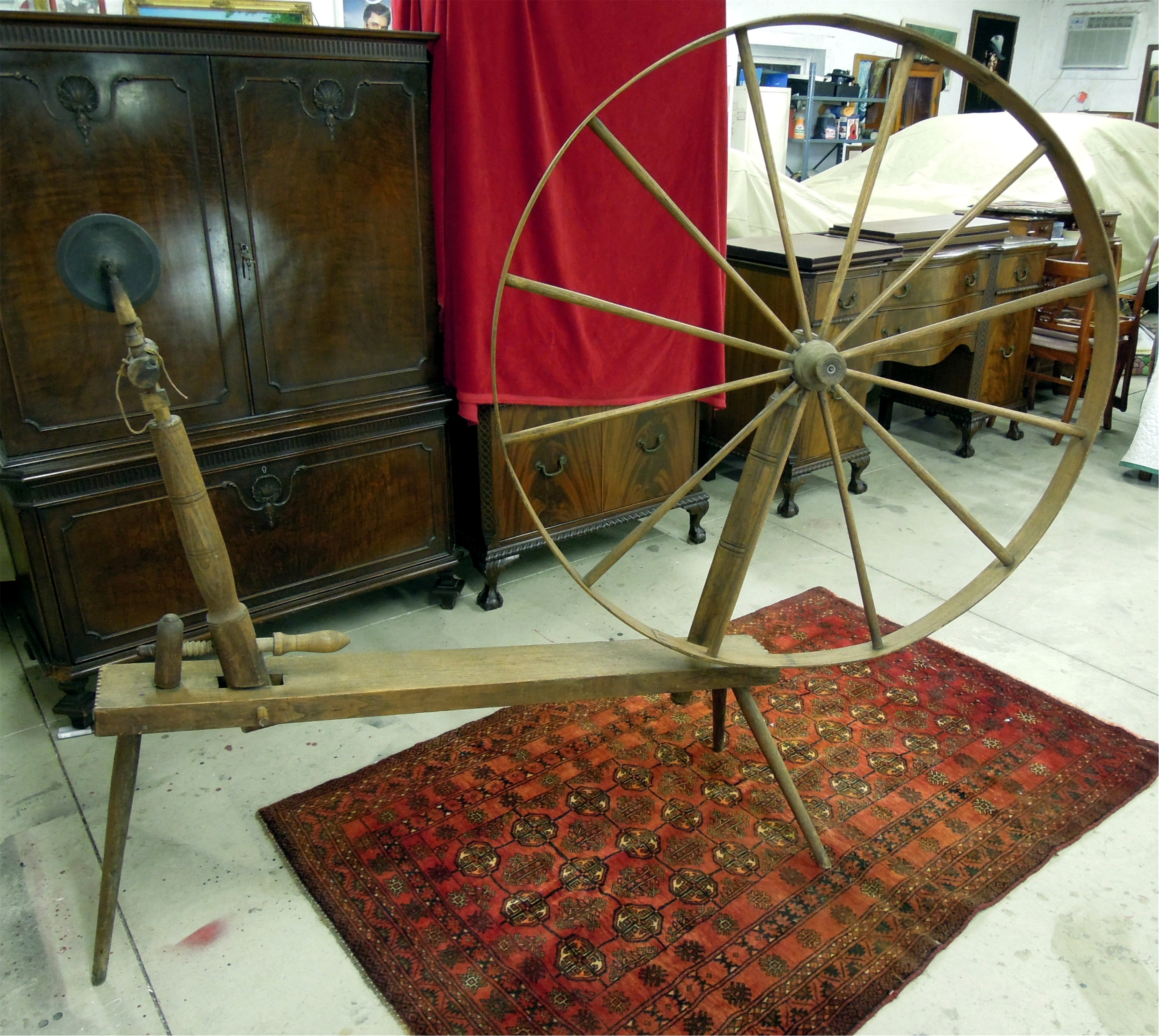 sold large authentic shaker great wheel antique spinning wheel for