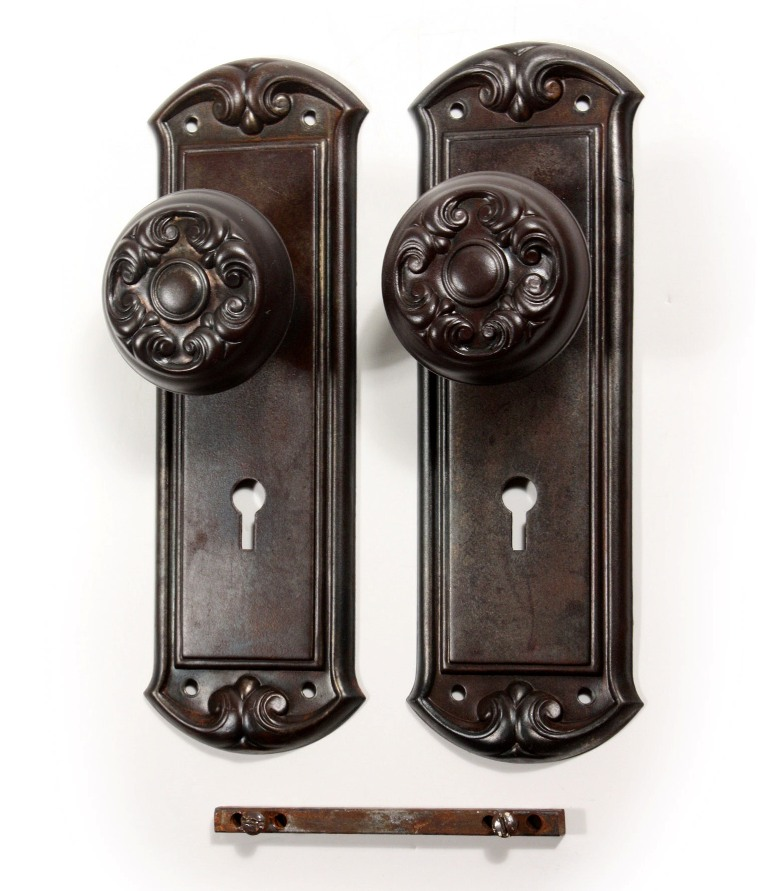 Antique Door Hardware antique door hardware sets with doorknobs & plates, early 1900's