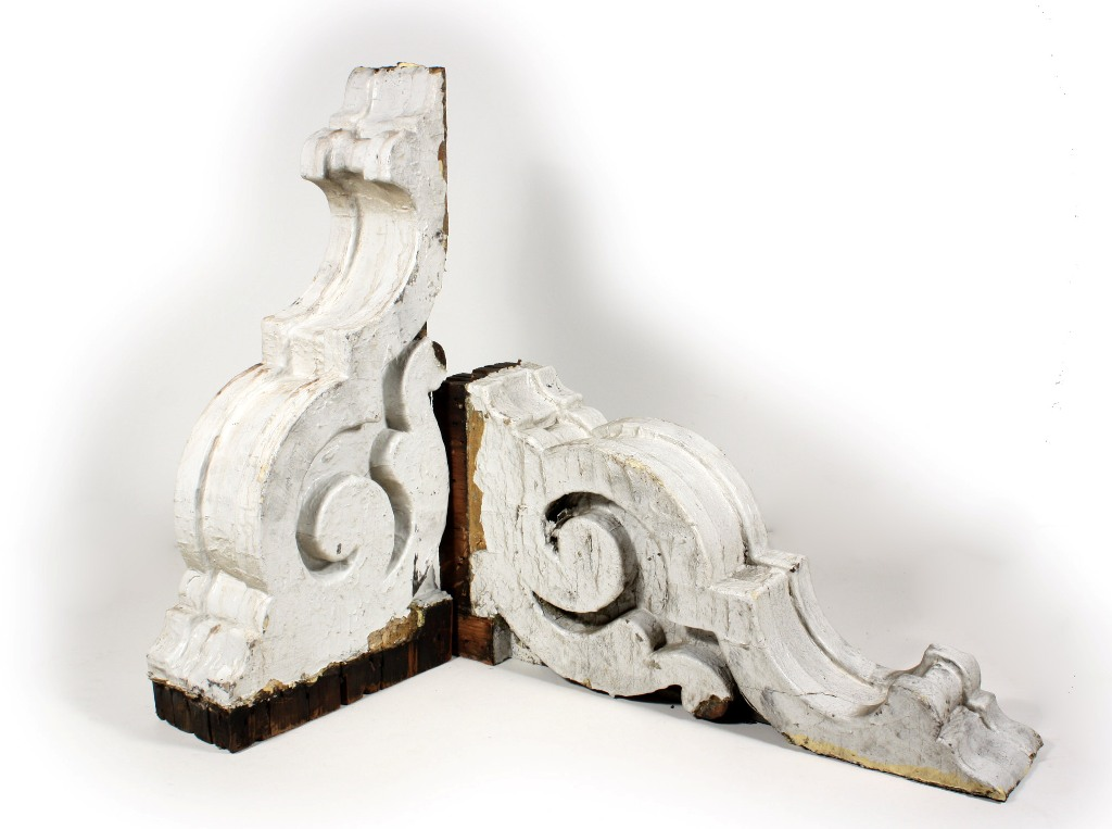 Two matching pairs of white antique corbels c 1880 s for Architecture antique