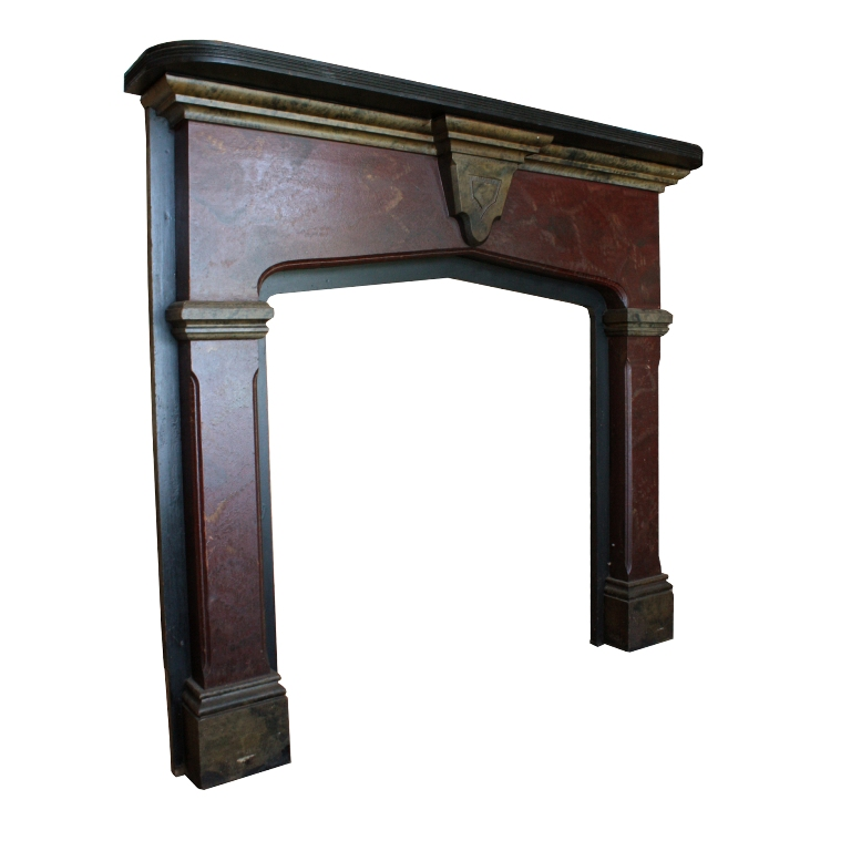 Striking Antique Wood Fireplace Mantel with Original Faux Finish ...
