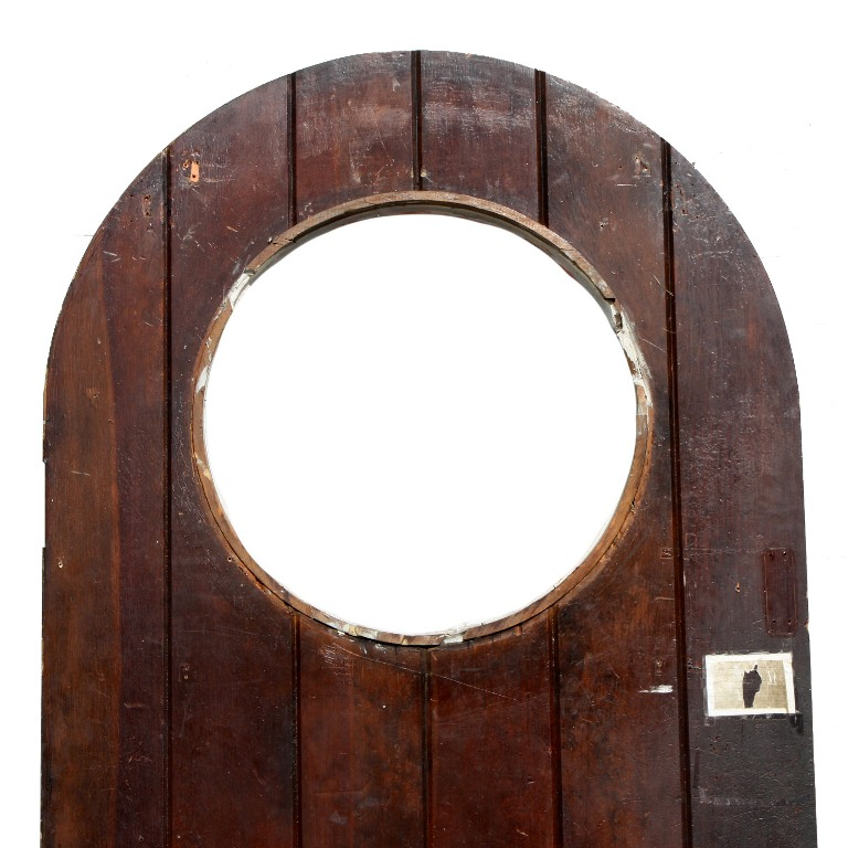 Fabulous Antique 36 Exterior Arched Plank Door With Round
