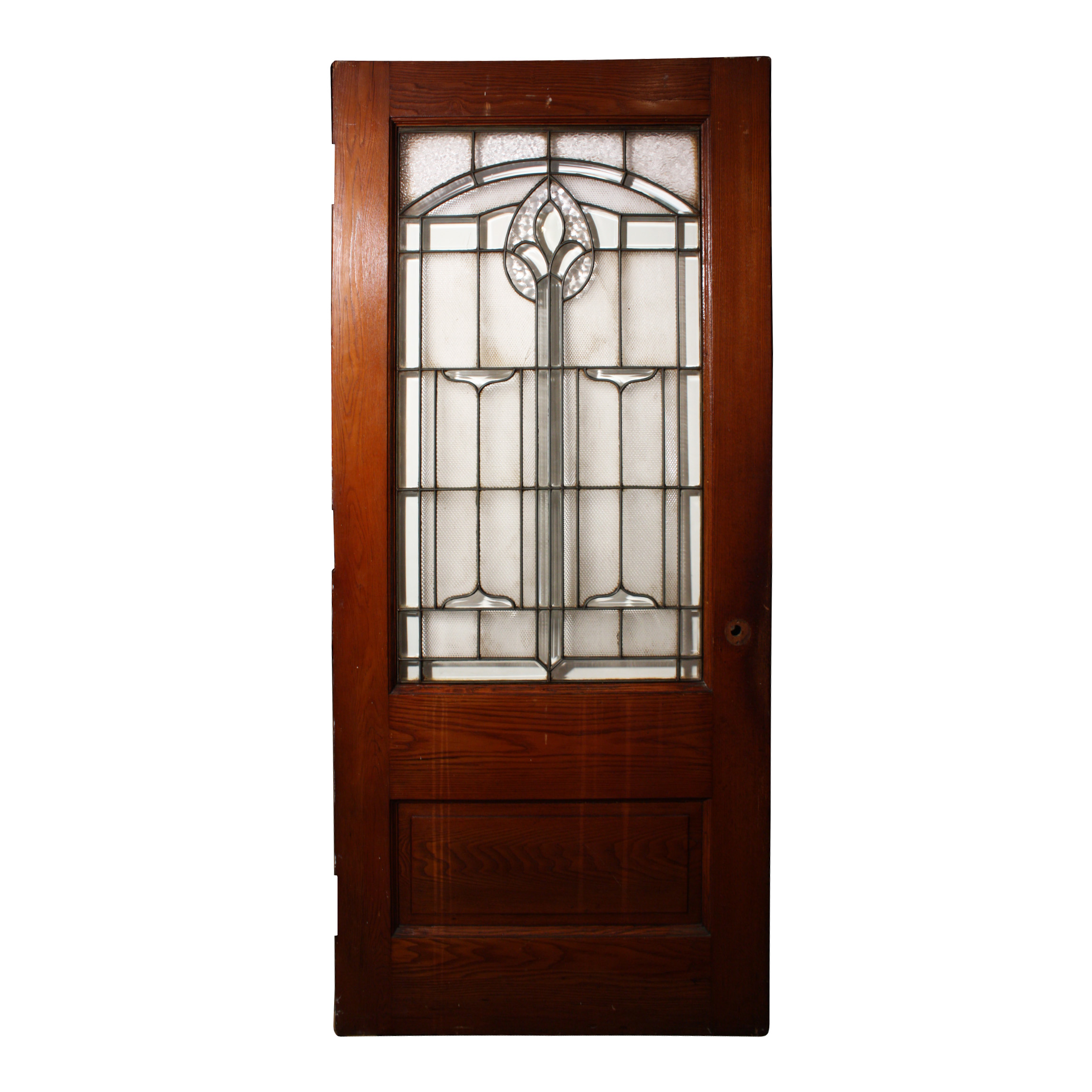 Striking salvaged antique 36 exterior door with leaded for Exterior glass doors for sale
