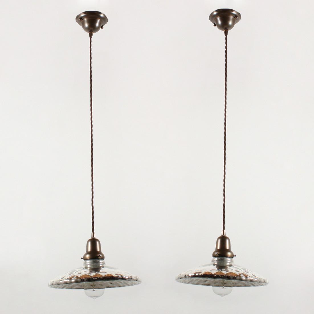 Large Antique Industrial Mercury Glass Pendants 1920 S