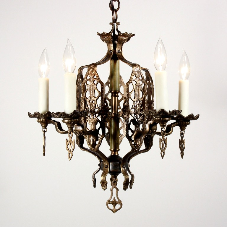 Superb antique five light spanish revival chandelier for Spanish revival lighting